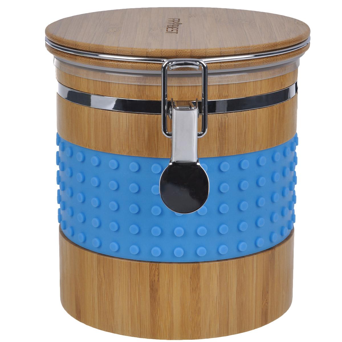 Контейнер бамбуковый Murmure de Bambou, с силиконовыми вставками, цвет: голубой, 13,6 x 17,2 x 14,8 смCA19315B1N1Контейнер великолепно подходит для хранения сухих и сыпучих продуктов. Элегантная комбинация высококачественных материалов (бамбука и силикона) обеспечивает долговечность и практичность контейнера. Бамбук - натуральный природный материал, обладающий антибактериальным эффектом. Яркий и стильный дизайн изделия станет украшением вашей кухни.