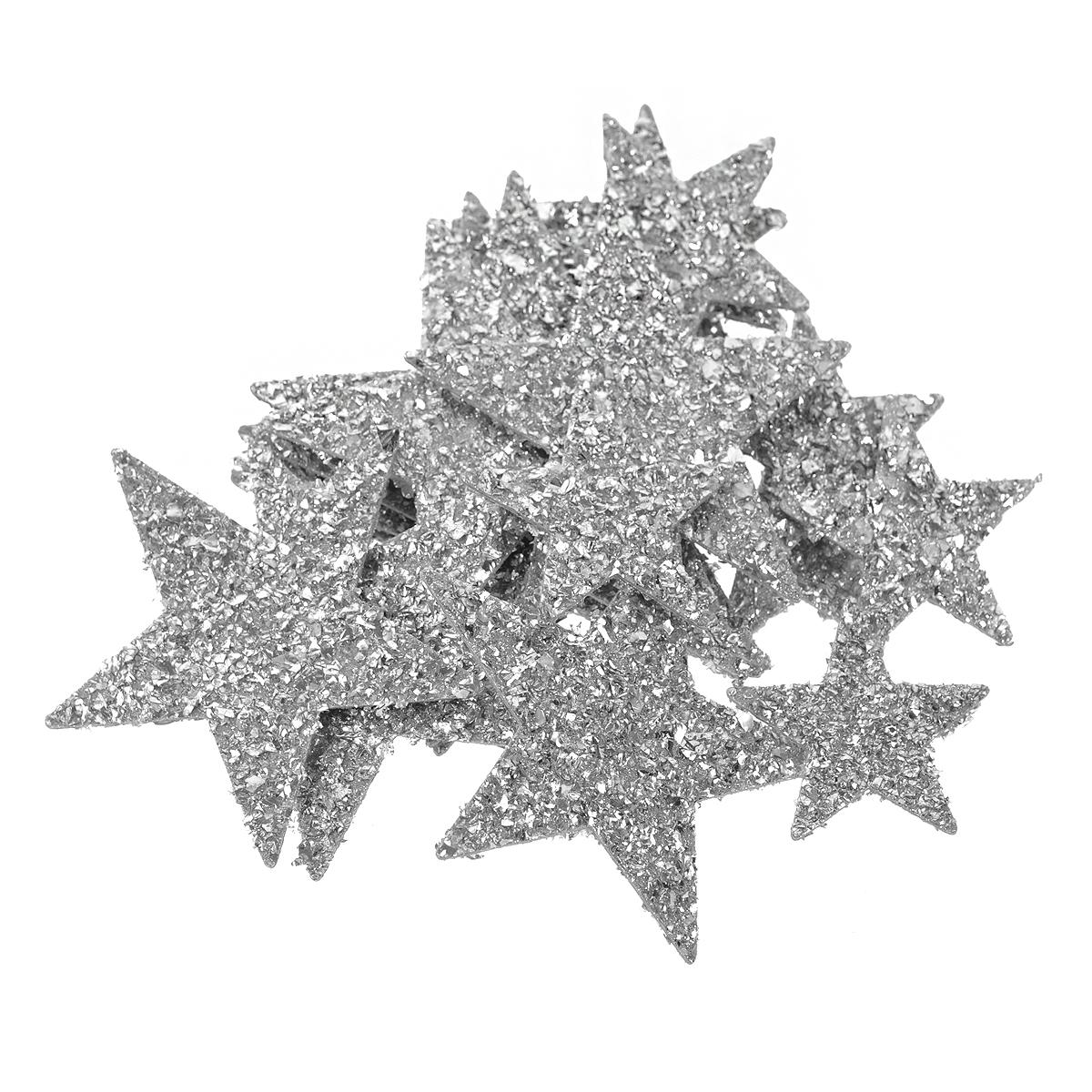 Набор для декорирования Tilda Glittering Silver Stars, 16 шт. 480486480486Набор декоративных звездочек Tilda Glittering Silver Stars выполнен из пластика и блестящей фольги и прекрасно подойдет для оформления творческих работ в технике скрапбукинга и создания оргинальных дизайнерских решений. В набор входят звездочки различных размеров.