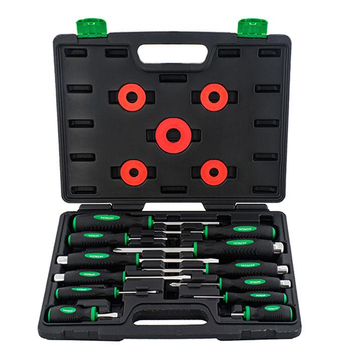 Набор отверток Hitachi, 12 предметов774007Набор отверток Hitachi, предназначен для монтажа/демонтажа различных резьбовых соединений. В состав набора входят: Крестовые отвертки: PH0 x 60 мм, PH2 x 38 мм, PZ1 x 80 мм, PZ2 x 100 мм, PZ3 x 125 мм; Плоские отвертки: SL6.5 x 38 мм, SL3 x 60 мм; Усиленные крестовые отвертки: PH1 x 75 мм, PH2 x 100 мм, PH3 x 125 мм; Усиленные плоские отвертки: SL5.5 x 100 мм, SL6.5 x 125 мм; Пластиковый кейс.