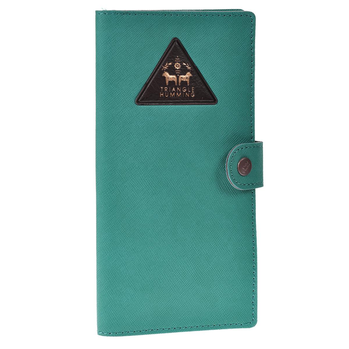Кошелек Triangle humming, цвет: бирюзовый0901023Оригинальный кошелек Triangle humming выполнен из кожзаменителя бирюзового цвета и декорирован выпуклым треугольником с золотистым тиснением. Кошелек закрывается на хлястик с металлической кнопкой. Имеет внутри два отделения для купюр, кармашек-уголок для чеков, девять прорезных карманов для кредитных карт и карман со вставкой из прозрачного пластика. Такой кошелек станет отличным подарком для человека, ценящего качественные и необычные вещи. Характеристики: Материал: полиуретан, металл. Цвет: бирюзовый. Размер кошелька: 9 см х 17,5 см х 1 см. Размер упаковки: 9 см х 20 см х 1 см. Артикул: 0901023.