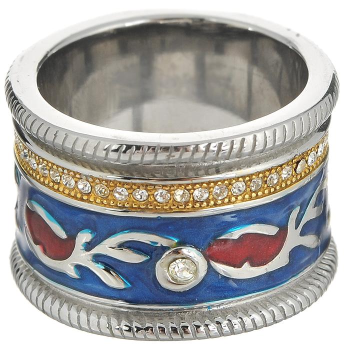 Кольцо Arabesca, цвет: серебристый, синий. Размер 18. 6002015860020158Оригинальное кольцо Arabesca, выполнено из металла с гальваническим покрытием родием, украшено эмалью и стразами Swarovski. Такое кольцо позволит вам с легкостью воплотить самую смелую фантазию и создать собственный, неповторимый образ.