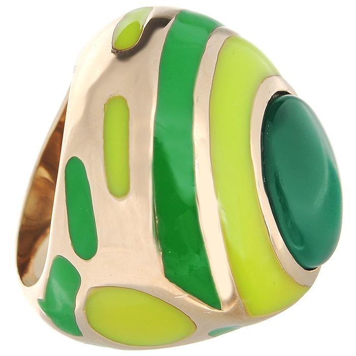 Кольцо Arabesca, цвет: золотистый. Размер 18. 6002028860020288Оригинальное кольцо Arabesca, выполненное из металла с гальваническим золотистым покрытием, декорировано разноцветной эмалью и ювелирной смолой. Кольцо позволит вам с легкостью воплотить самую смелую фантазию и создать собственный, неповторимый образ.