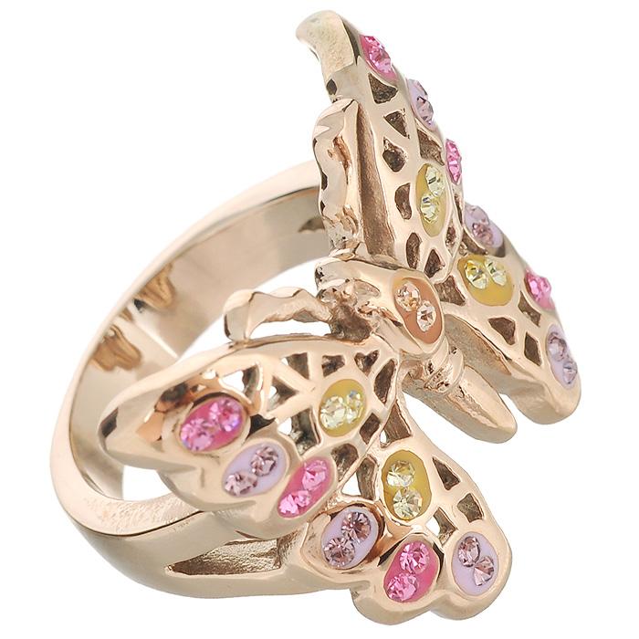 Кольцо Arabesca, цвет: золотистый. Размер 17. 6002017760020177Оригинальное кольцо Arabesca, выполнено из металла с гальваническим покрытием позолота, в виде бабочки и украшен стразами Swarovski. Такое кольцо позволит вам с легкостью воплотить самую смелую фантазию и создать собственный, неповторимый образ.