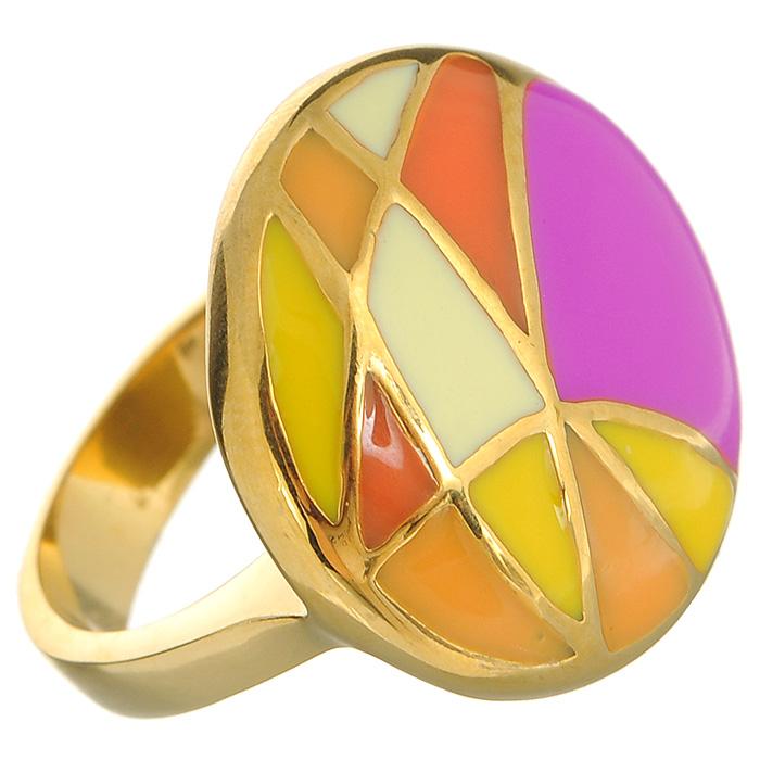 Кольцо Arabesca, цвет: золотистый. Размер 18. 6002027860020278Оригинальное кольцо Arabesca, выполненное из металла с гальваническим золотистым покрытием, декорировано разноцветной эмалью. Кольцо позволит вам с легкостью воплотить самую смелую фантазию и создать собственный, неповторимый образ.