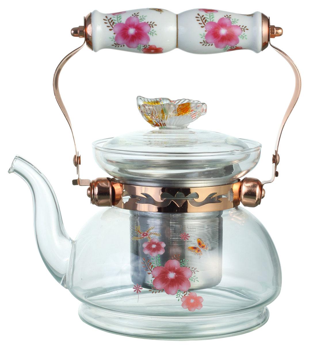 Чайник заварочный Bekker, цвет: розовые цветы, 1 л. BK-7616BK-7616Заварочный чайник Bekker выполнен из жаростойкого стекла, которое хорошо удерживает тепло. Ручка и съемное ситечко внутри чайника выполнены из высококачественной нержавеющей стали. Высокая ручка чайника, снабженная фарфоровой насадкой, позволяет с легкостью удерживать его на весу. Съемное ситечко для заварки предотвращает попадание чаинок и листочков в настой. Заварочный чайник украшен изящным рисунком, что придает ему элегантность. Заварочный чайник из стекла удобно использовать для повседневного заваривания чая практически любого сорта. Но цветочные, фруктовые, красные и желтые сорта чая лучше других раскрывают свой вкус и аромат при заваривании именно в стеклянных чайниках и сохраняют полезные ферменты и витамины, содержащиеся в чайных листах. Высота чайника: 13 см.