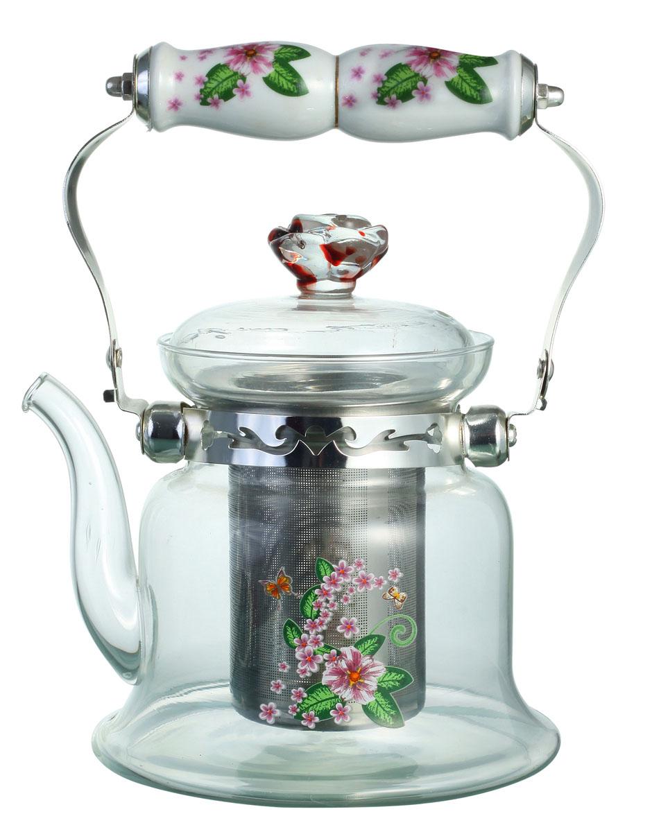 Чайник заварочный Bekker, цвет: розовые цветы, 1,2 л. BK-7619BK-7619Заварочный чайник Bekker выполнен из жаростойкого стекла, которое хорошо удерживает тепло. Ручка и съемное ситечко внутри чайника выполнены из высококачественной нержавеющей стали. Высокая ручка чайника, снабженная фарфоровой насадкой, позволяет с легкостью удерживать его на весу. Съемное ситечко для заварки предотвращает попадание чаинок и листочков в настой. Заварочный чайник украшен изящным рисунком, что придает ему элегантность. Заварочный чайник из стекла удобно использовать для повседневного заваривания чая практически любого сорта. Но цветочные, фруктовые, красные и желтые сорта чая лучше других раскрывают свой вкус и аромат при заваривании именно в стеклянных чайниках и сохраняют полезные ферменты и витамины, содержащиеся в чайных листах. Высота чайника: 16 см.