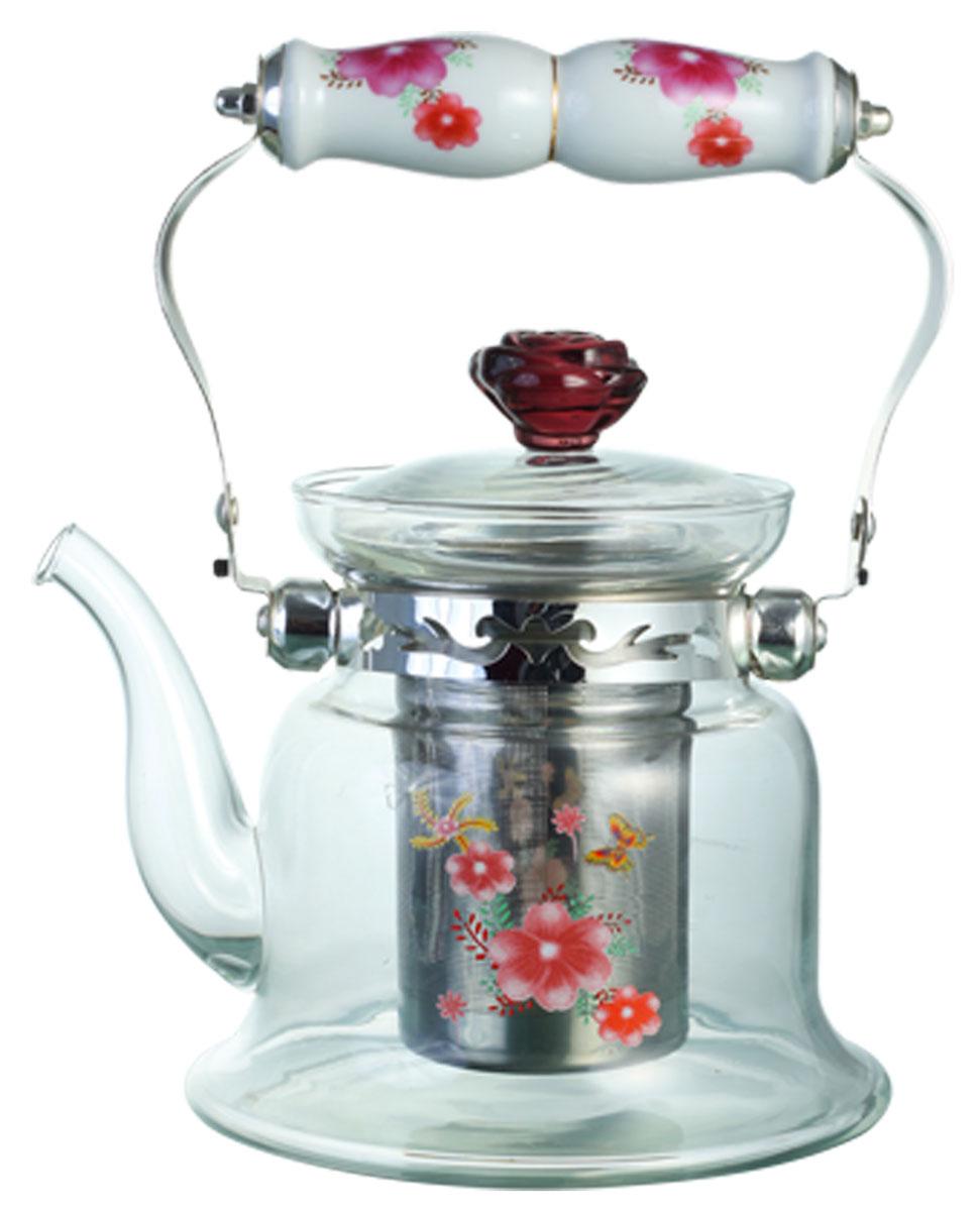 Чайник заварочный Bekker, цвет: розовые цветы, 900 мл. BK-7618BK-7618Заварочный чайник Bekker выполнен из жаростойкого стекла, которое хорошо удерживает тепло. Ручка и съемное ситечко внутри чайника выполнены из высококачественной нержавеющей стали. Высокая ручка чайника, снабженная фарфоровой насадкой, позволяет с легкостью удерживать его на весу. Съемное ситечко для заварки предотвращает попадание чаинок и листочков в настой. Заварочный чайник украшен изящным рисунком, что придает ему элегантность. Заварочный чайник из стекла удобно использовать для повседневного заваривания чая практически любого сорта. Но цветочные, фруктовые, красные и желтые сорта чая лучше других раскрывают свой вкус и аромат при заваривании именно в стеклянных чайниках и сохраняют полезные ферменты и витамины, содержащиеся в чайных листах. Высота чайника: 13 см.