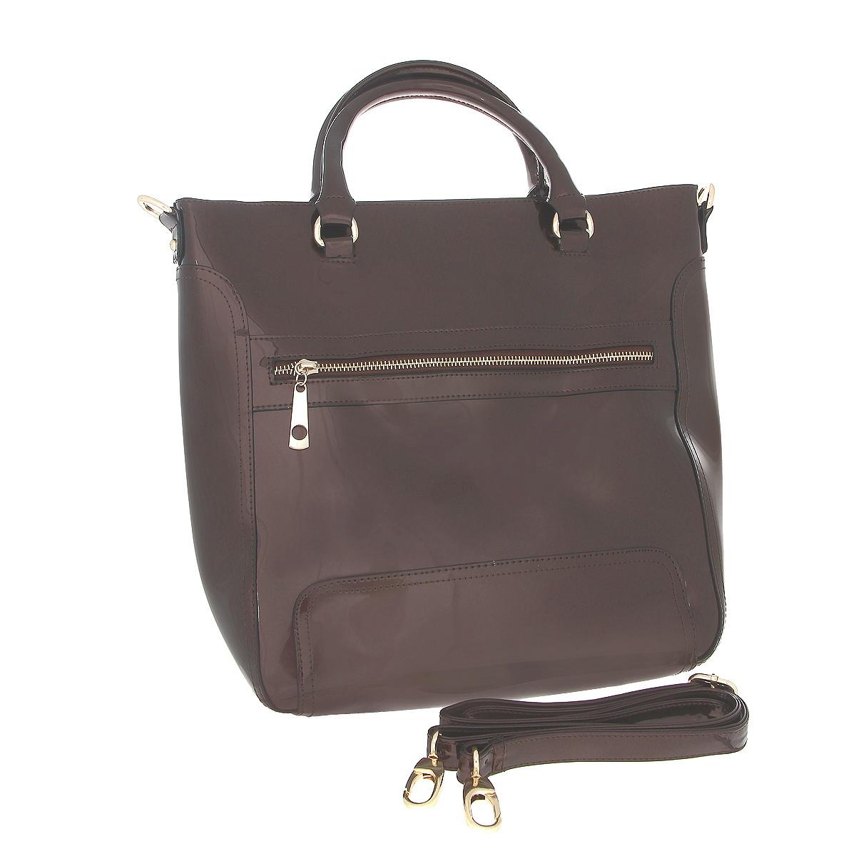 Сумка женская Fancy bag , цвет: коричневый. CM-6066-09CM-6066-09 коричСтильная сумка Fancy Bag выполнена из искусственной лаковой кожи коричневого цвета. Сумка закрывается на застежку-молнию. Имеет одно отделение, содержащее внутри два кармашка на застежке-молнии, два накладных открытых кармашка для мелочей. На задней стороне сумки расположен вшитый карман на молнии. На лицевой стороне небольшой вшитый кармашек. Сумка оснащена двумя ручками, крепящимися при помощи металлических колец и съемным плечевым ремнем. В комплекте чехол для хранения. Этот стильный аксессуар станет изысканным дополнением к вашему образу. Характеристики: Цвет: коричневый. Материал: искусственная кожа, металл, текстиль. Размер сумки: 36 см х 32 см х 12 см. Высота ручек: 12 см. Длина плечевого ремня: 60-120 см. Артикул: CM-6066-09.