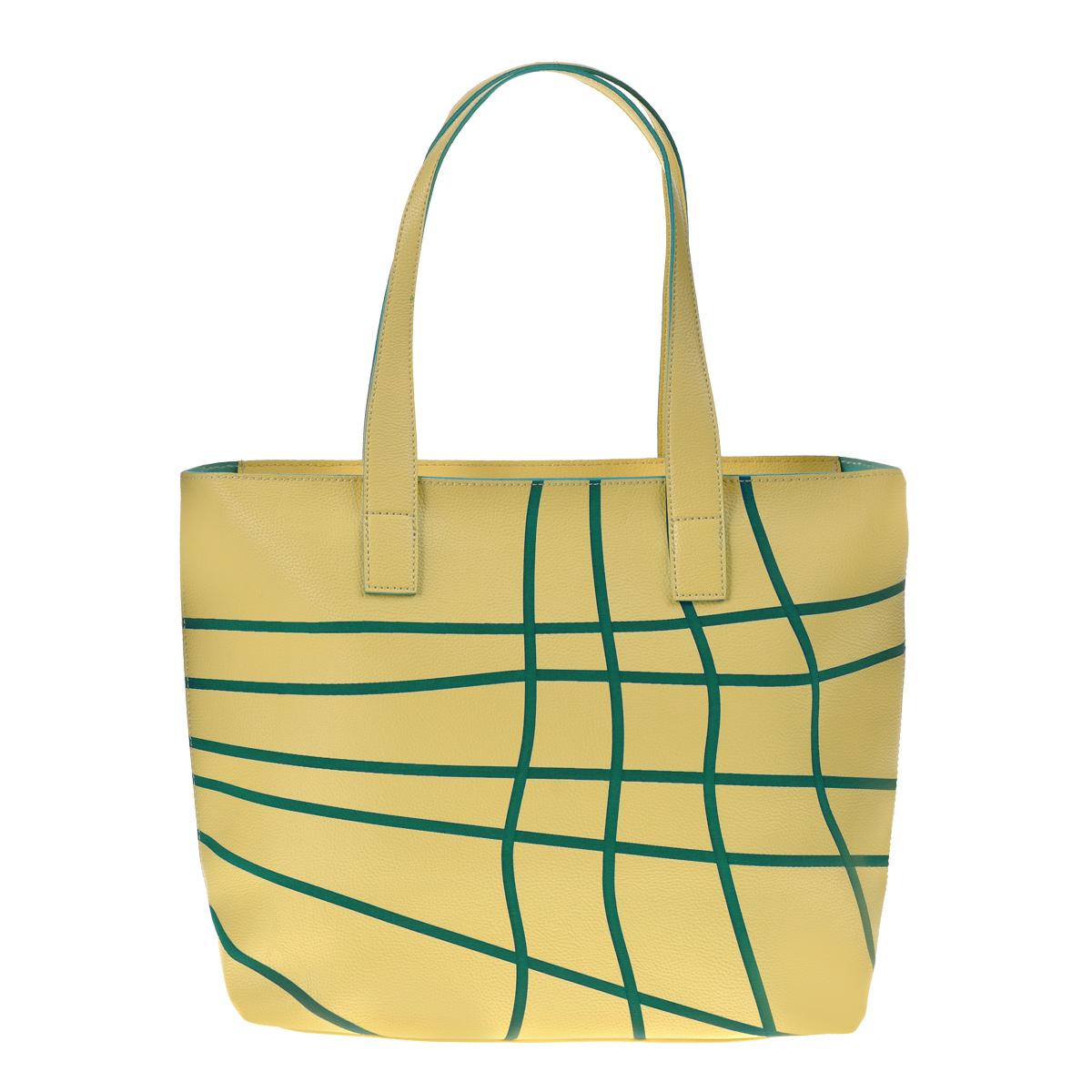 Сумка женская Modo Gru, цвет: желтый, зеленый. MG-13A340MG-13A340 yellowОригинальная женская сумка Modo Gru, выполненная из искусственной кожи желтого цвета с вставками зеленого цвета. Сумка закрывается на молнию. Состоит из одного большого отделения, внутри открытый карман на молнии. Сумка оснащена двумя удобными ручками. Этот стильный аксессуар станет великолепным дополнением вашего образа.