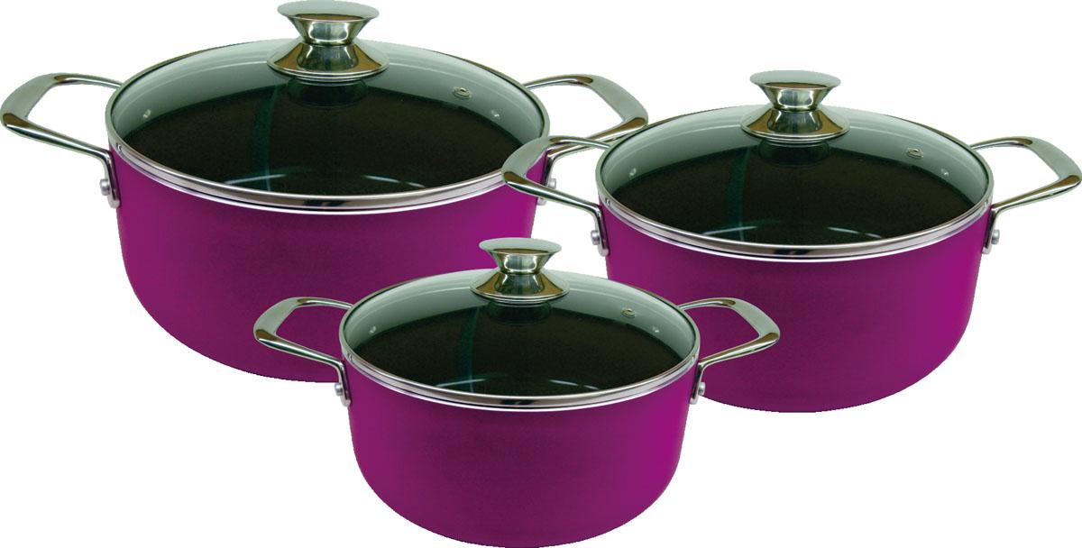 Набор кастрюль Bekker, цвет: фиолетовый, 6 предметов. BK-3814BK-3814 фиолетовыйНабор Bekker включает в себя 3 кастрюли с крышками. Кастрюли изготовлены из высококачественного алюминия. Цветной корпус обеспечивает безупречный внешний вид посуды. Антипригарное керамическое покрытие Excilon обеспечит посуде практичность и долговечность. Кастрюли имеют удобные ручки, изготовленные из нержавеющей стали. Крышки изготовлены из термостойкого стекла и оснащены отверстием для выхода пара. Такие крышки позволяют следить за процессом приготовления пищи без потери тепла. Они плотно прилегают к краю кастрюль, сохраняя аромат блюд. Кастрюли подходят для использования на индукционных плитах. Также изделия можно мыть в посудомоечной машине.