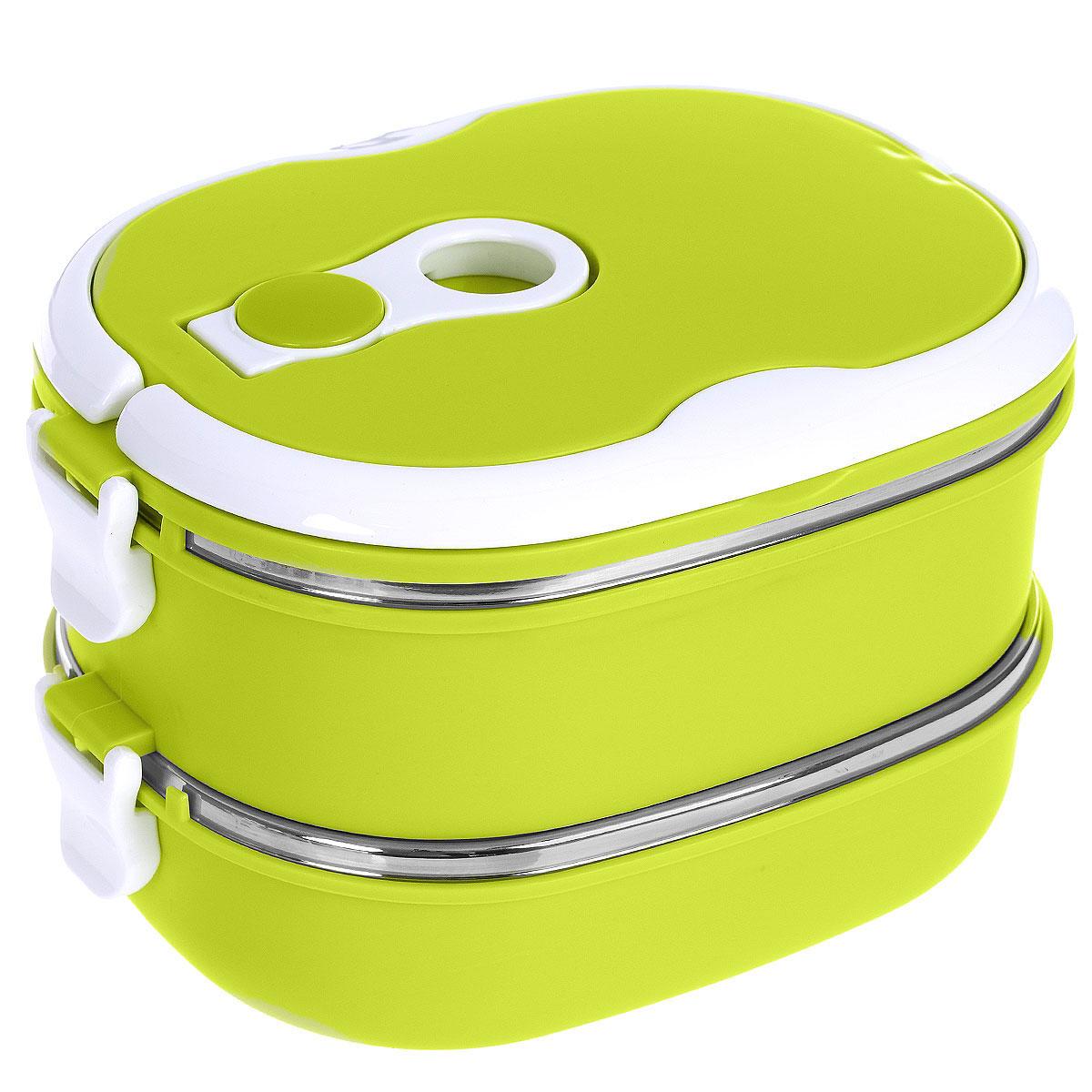 Термо ланч-бокс двойной Bradex Bento, цвет: зеленый, 1,5 лTK 0050Двойной термо ланч-бокс Bradex Bento станет незаменимой вещью для офисных работников, водителей, школьников и студентов. Благодаря двойной стенке ланч-бокс сохраняет температуру продуктов в течение 4-5 часов, поэтому вы сможете насладиться теплым обедом и вне дома. Ланч-бокс имеет абсолютно герметичную конструкцию и складные ручки для удобства переноски, также он пригоден для мытья в посудомоечной машине, идеален для пикников и путешествий. Вы можете носить в Bento обеды и завтраки, супы, закуски, фрукты, овощи и другое. Так как ланч-бокс имеет два уровня, то в нем можно хранить большее количество продуктов. Объем: 1,5 л. Размер одного контейнера: 18,5 см х 14,5 см х 6 см. Общий размер ланчбокса: 18,5 см х 14,5 см х 13 см.