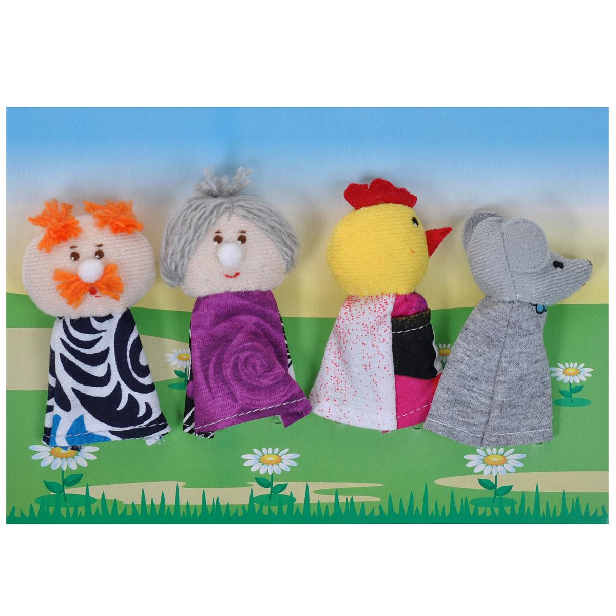 Пальчиковый театр Курочка Ряба, 4 предмета017.06Пальчиковый театр Курочка Ряба - это набор развивающих мягких игрушек, состоящий из фигурок надеваемых на пальцы руки взрослого или ребенка. В комплекте пальчиковые куклы, 4 штуки: дед, бабка, курочка Ряба, мышка. Рекомендуем работать разными парами пальцев, разными руками и обеими руками одновременно. Фигурки изображают известных сказочных героев. Все персонажи очень яркие, мягкие. Маленькие фигурки пальчикового театра создадут Вам компанию во время прогулки или посещения поликлиники, в дороге. Они не займут много места в маминой сумочке и помогут развлечь малыша. С их помощью можно оживить любимые стихи, сказки, потешки. Незамысловатая игрушка развивает интонацию, исполнительские умения, творческие способности в передаче образа, мелкую моторику. Театрализованные игры создают эмоциональный подъем, повышают жизненный тонус ребенка. Характеристики: Материал: текстиль. Высота одной фигурки: 8 см Размер упаковки: 25,5 см x 24 см x 1,5 см. ...