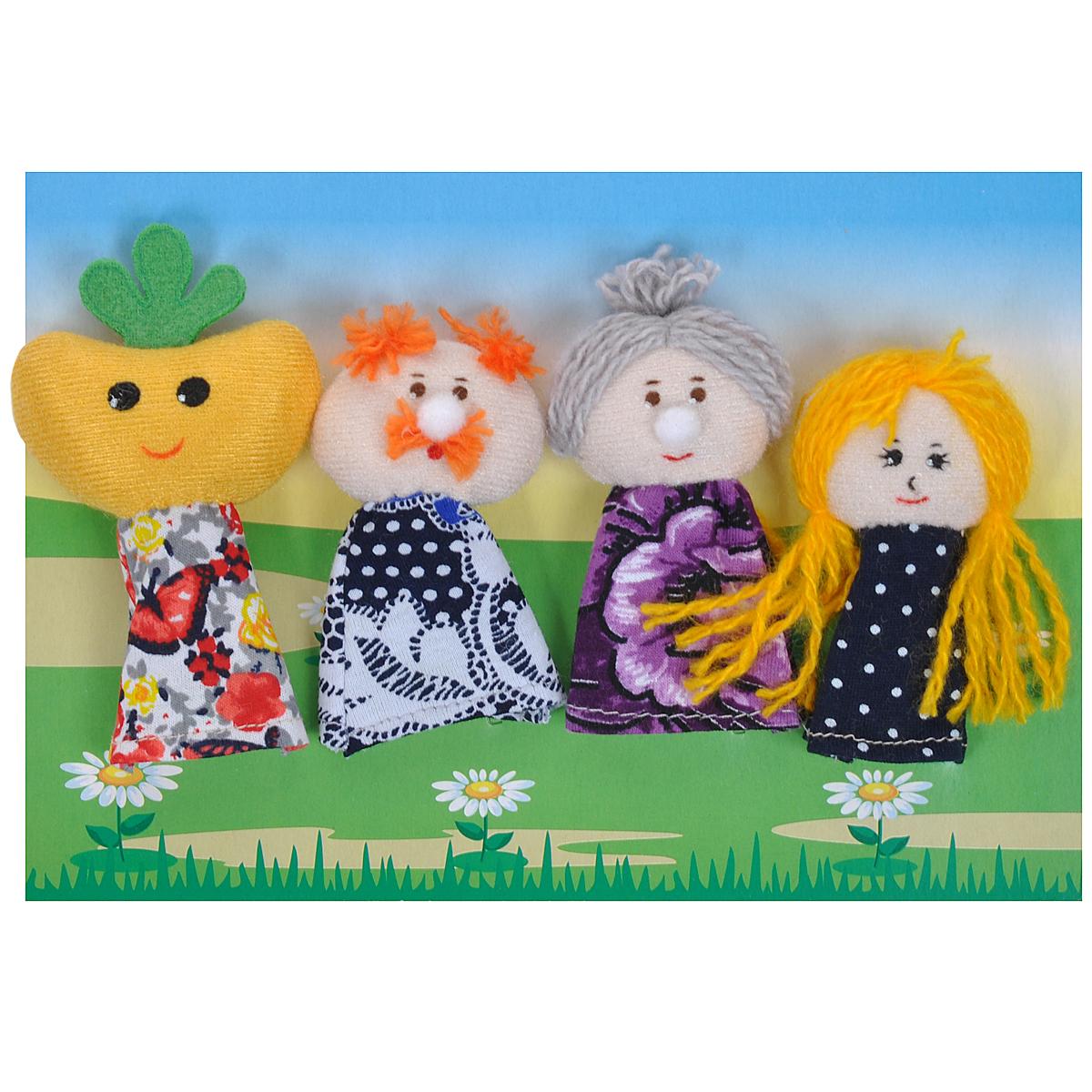 Пальчиковый театр Репка, 7 предметов017.01Пальчиковый театр Репка - это набор развивающих мягких игрушек, состоящий из фигурок надеваемых на пальцы руки взрослого или ребенка. В комплекте пальчиковые куклы, 7 штук: дед, бабка, репка, внучка, собака, кошка, мышка. Рекомендуем работать разными парами пальцев, разными руками и обеими руками одновременно. Фигурки изображают известных сказочных героев. Все персонажи очень яркие, мягкие. Маленькие фигурки пальчикового театра создадут Вам компанию во время прогулки или посещения поликлиники, в дороге. Они не займут много места в маминой сумочке и помогут развлечь малыша. С их помощью можно оживить любимые стихи, сказки, потешки. Незамысловатая игрушка развивает интонацию, исполнительские умения, творческие способности в передаче образа, мелкую моторику. Театрализованные игры создают эмоциональный подъем, повышают жизненный тонус ребенка. Характеристики: Материал: текстиль. Высота одной фигурки: 8 см Размер упаковки: 25,5 см x 24 см x 1,5...