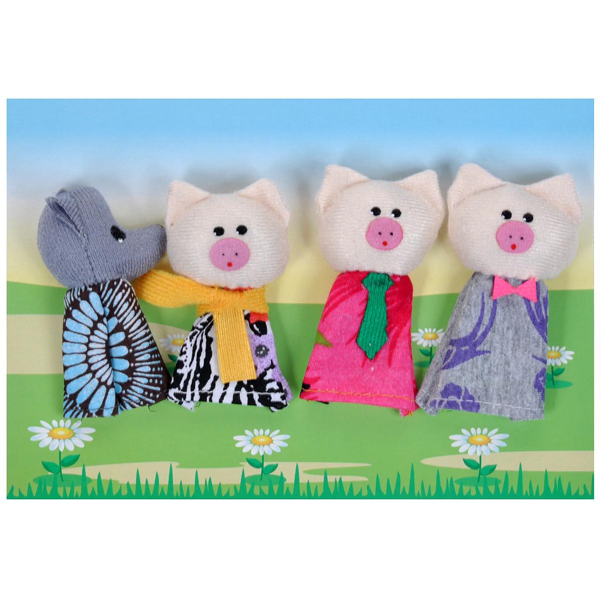 Пальчиковый театр Три поросенка, 4 предмета017.09Пальчиковый театр Три поросенка - это набор развивающих мягких игрушек, состоящий из фигурок надеваемых на пальцы руки взрослого или ребенка. В комплекте пальчиковые куклы, 4 штуки: 3 поросенка и серый волк. Рекомендуем работать разными парами пальцев, разными руками и обеими руками одновременно. Фигурки изображают известных сказочных героев. Все персонажи очень яркие, мягкие. Маленькие фигурки пальчикового театра создадут Вам компанию во время прогулки или посещения поликлиники, в дороге. Они не займут много места в маминой сумочке и помогут развлечь малыша. С их помощью можно оживить любимые стихи, сказки, потешки. Незамысловатая игрушка развивает интонацию, исполнительские умения, творческие способности в передаче образа, мелкую моторику. Театрализованные игры создают эмоциональный подъем, повышают жизненный тонус ребенка. Характеристики: Материал: текстиль. Высота одной фигурки: 8 см Размер упаковки: 25,5 см x 24 см x 1,5 см. ...