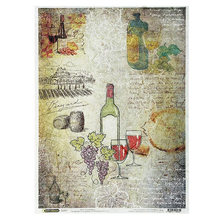 Рисовая бумага для декупажа Craft Premier Карта вин, 28,2 х 38,4 смСР04334Рисовая бумага - мягкая бумага с выраженной волокнистой структурой легко повторяет форму любых предметов. При работе с этой бумагой вам не потребуется никакой дополнительной подготовки перед началом работы. Вы просто вырезаете или вырываете нужный фрагмент, и хорошо проклеиваете бумагу на поверхности изделия. Рисовая бумага для декупажа идеально подходит для стекла. В отличие от салфеток, при наклеивании декупажная бумага практически не рвется и совсем не растягивается. Клеить ее можно как на светлую, так и на темную поверхность. Для новичков в декупаже - это очень удобно и гарантируется хороший результат. Поверхность, на которую будет клеиться декупажная бумага, подготавливают точно так же, как и для наклеивания салфеток, распечаток и т.д. Мотив вырезаем точно по контуру и замачиваем в емкости с водой, обычно не больше чем на одну минуту, чтобы он полностью впитал воду. Вынимаем и промакиваем бумажным или обычным полотенцем с двух сторон. Равномерно наносим клей на оборотную...