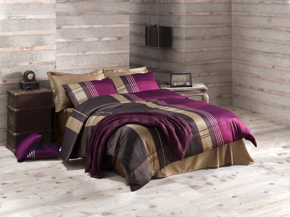 Комплект белья Issey (евро КПБ, сатин, 4 наволочки 50х70), цвет: пурпурныйIssey PurpleКомплект постельного белья Issey, изготовленный из сатина высокого качества, поможет вам расслабиться и подарит спокойный сон. Комплект состоит из одного пододеяльника, простыни и четырех наволочек. Белье сшито из сатина - блестящей и плотной ткани, которая изготавливается из крученой хлопковой нити двойного плетения, что придает ей яркость и блеск. Своими свойствами он схож с шелком и кашемиром. Сатин из египетского хлопка отличает от остальных отсутствие линта (хлопкового пуха), поэтому со временем белье не обрастает катышками! Это белье выдерживает более 300 стирок, не теряя своей первоначальной прелести и не тускнея, и его практически не нужно гладить! Благодаря такому комплекту постельного белья вы сможете создать атмосферу роскоши и романтики в вашей спальне. Характеристики: Цвет: пурпурный. Материал: поверхностная плотность: 200 ТС. состав: сатин 100% хлопок. метод нанесения рисунка: ротационный принт, гладкоокрашенная ткань. ...