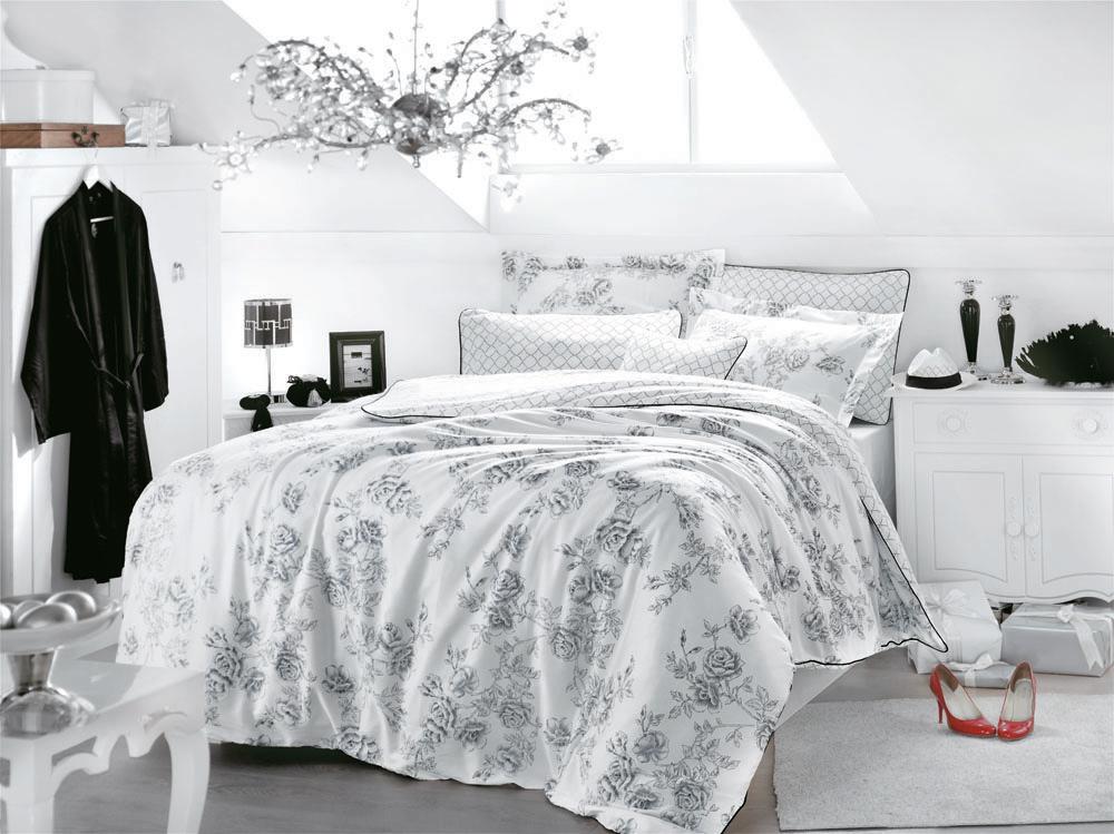 Комплект белья Rose Art (семейный КПБ, сатин, 4 наволочки 50х70), цвет: бело-черный