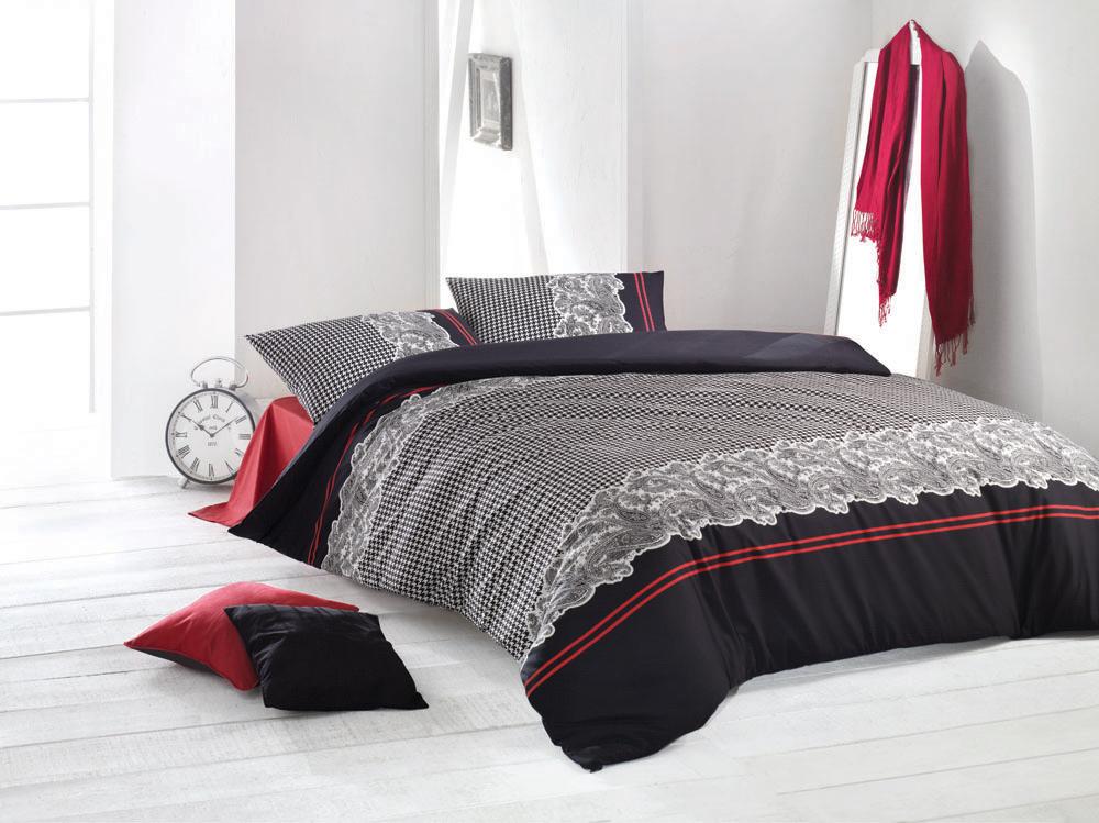 Комплект белья Soho (евро КПБ, ранфорс, 2 наволочки 50х70), цвет: черно-бело-красныйSohoКомплект постельного белья Soho, изготовленный из ранфорса высокого качества, поможет вам расслабиться и подарит спокойный сон. Комплект состоит из одного пододеяльника, простыни и двух наволочек. Роскошный комплект постельного белья Soho выполнен в классическом стиле с набивным рисунком в виде белых узоров на черном фоне и оформлен красными полосками. Белье сшито из ранфорса, материала, очень мягкого и приятного на ощупь. К тому же он обладает отличными гигроскопичными, антистатичными и гипоаллергенными свойствами. Ранфорс - это удивительный материал. Летом в таком постельном белье будет прохладно, а зимой оно, наоборот, хорошо сохранит тепло вашего тела. Все белье Issimo - это образец качества. Ровные швы, качественный хлопок, четкие рисунки на тканях, которые не полиняют и не потеряют яркости долгое время - все это говорит о строгом отношении производителя к своей продукции. Характеристики: Цвет: черно-бело-красный. Материал: поверхностная...