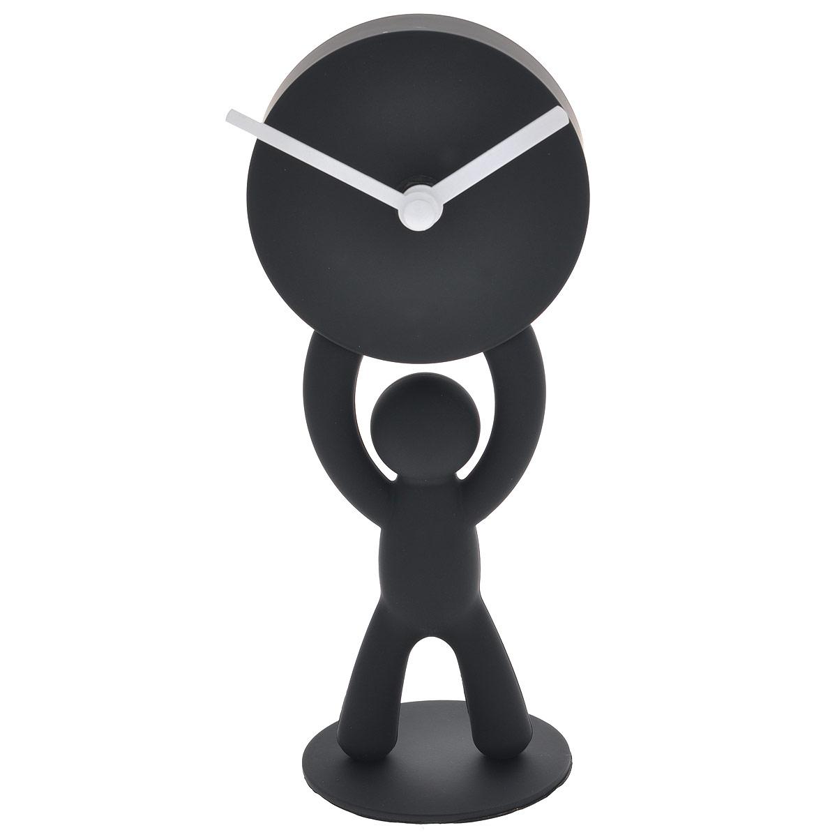 Часы настольные Buddy, цвет: черный118510-040Настольные часы, выполненные из пластика в виде человечка, держащего в руках циферблат, прекрасно украсят интерьер вашего помещения. Циферблат часов имеет две стрелки: часовую и минутную. Оформите свой дом таким интерьерным аксессуаром или преподнесите его в качестве презента друзьям, и они оценят ваш оригинальный вкус и неординарность подарка.