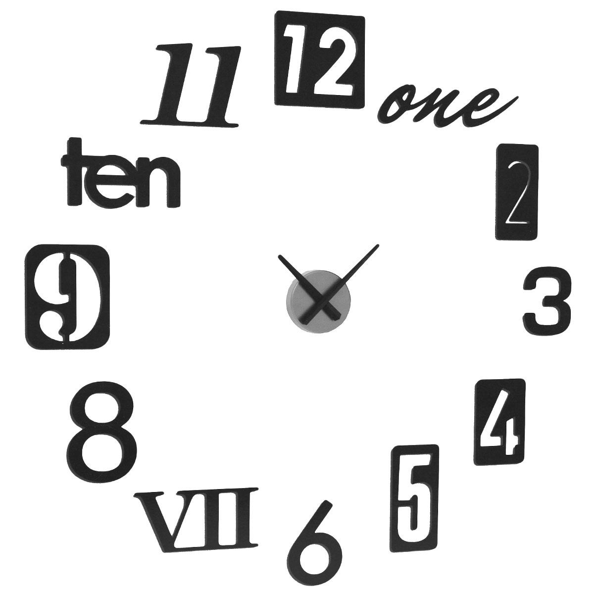 Часы настенные Umbra Numbra, цвет: черный. 118430-040118430-040Часы настенные Umbra Numbra своим дизайном подчеркнут стильность и оригинальность интерьера вашего дома. Корпус часов круглой формы выполнен из металла. Часы имеют две стрелки - часовую, минутную. В комплекте с часами имеется 12 металлических цифр, слов, позволяющие создать аппликацию вокруг циферблата. Цифры можно располагать по стене в произвольном порядке, или в порядке, указанном в инструкции. Такие часы послужат отличным подарком для ценителя ярких и необычных вещей. Характеристики: Материал: пластик, металл. Диаметр часов: 9,5 см. Диаметр аппликации: 55 см. Размер упаковки: 32 см х 33 см х 6 см. Изготовитель: Китай. Артикул: 118430-040. Рекомендуется докупить батарейку типа АА (в комплект не входит).