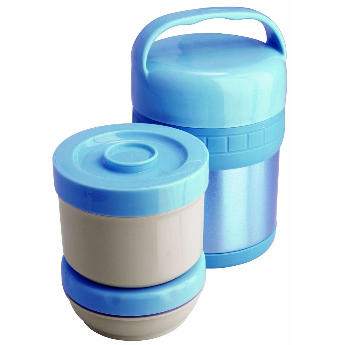 Термос ланч-бокс Regent Inox Soup, цвет: голубой, 1 л. 93-TE-S-3-1000T93-TE-S-3-1000TТермос Regent Inox Soup изготовлен из высококачественной пищевой нержавеющей стали, что обеспечивает высокую надежность и долговечность. Современная технология с вакуумной изоляцией и металлическая колба способствуют более длительному сохранению тепла. Внутри термоса предусмотрены два стальных лотка: лоток 1 с винтовой крышкой (650 мл), лоток 2 с герметичной крышкой (300 мл). Термос с широким горлом предназначен: - для хранения горячей пищи (первые и вторые блюда); - для хранения холодной пищи (мороженое, пельмени и пр.) и фруктов; - для хранения льда (нельзя хранить сухой лед). Термос способен сохранять горячую или холодную температуру до 24 часов - при температуре окружающей среды не ниже 18°С и температуре при заполнении не ниже +99+-1°С. Термос удобен в использовании дома, на даче, в турпоходе и на рыбалке. Пригодится на работе, в офисе и командировке, экономит электроэнергию и время. Нельзя мыть в посудомоечной машине. Нельзя мыть...