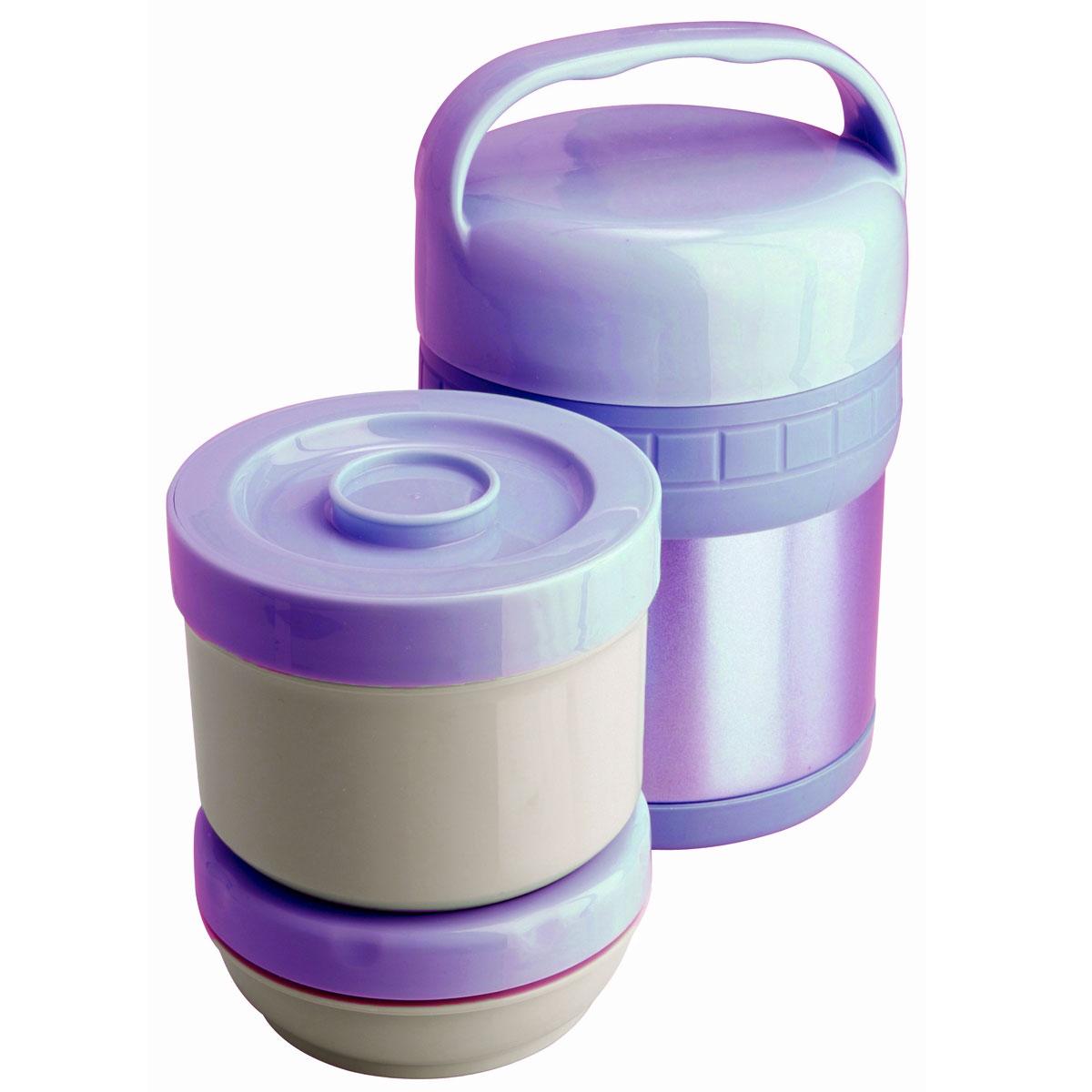 Термос ланч-бокс Regent Inox Soup, цвет: сиреневый, 1 л. 93-TE-S-3-1000V93-TE-S-3-1000VТермос Regent Inox Soup изготовлен из высококачественной пищевой нержавеющей стали, что обеспечивает высокую надежность и долговечность. Современная технология с вакуумной изоляцией и металлическая колба способствуют более длительному сохранению тепла. Внутри термоса предусмотрены два стальных лотка: лоток 1 с винтовой крышкой (650 мл), лоток 2 с герметичной крышкой (300 мл). Термос с широким горлом предназначен: - для хранения горячей пищи (первые и вторые блюда); - для хранения холодной пищи (мороженое, пельмени и пр.) и фруктов; - для хранения льда (нельзя хранить сухой лед). Термос способен сохранять горячую или холодную температуру до 24 часов - при температуре окружающей среды не ниже 18°С и температуре при заполнении не ниже +99+-1°С. Термос удобен в использовании дома, на даче, в турпоходе и на рыбалке. Пригодится на работе, в офисе и командировке, экономит электроэнергию и время. Нельзя мыть в посудомоечной машине. Нельзя мыть...