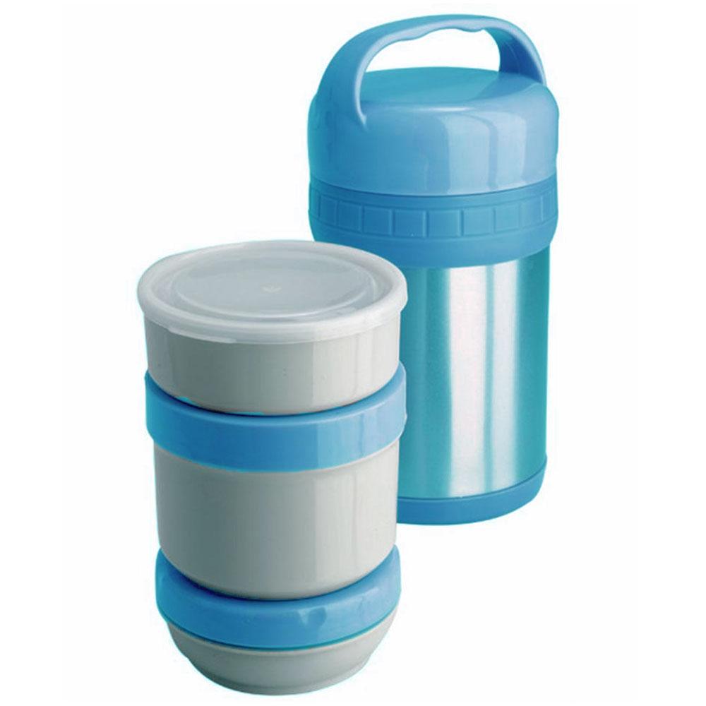 Термос ланч-бокс Regent Inox Soup, цвет: голубой, 1,5 л. 93-TE-S-3-1500T93-TE-S-3-1500TТермос Regent Inox Soup изготовлен из высококачественной пищевой нержавеющей стали, что обеспечивает высокую надежность и долговечность. Современная технология с вакуумной изоляцией и металлическая колба способствуют более длительному сохранению тепла. Внутри термоса предусмотрены три стальных лотка: лоток 1 с пластиковой крышкой (350 мл), лоток 2 с винтовой крышкой (650 мл), лоток 3 с герметичной крышкой (300 мл). Термос с широким горлом предназначен: - для хранения горячей пищи (первые и вторые блюда); - для хранения холодной пищи (мороженое, пельмени и пр.) и фруктов; - для хранения льда (нельзя хранить сухой лед). Термос способен сохранять горячую или холодную температуру до 24 часов - при температуре окружающей среды не ниже 18°С и температуре при заполнении не ниже +99+-1°С. Термос удобен в использовании дома, на даче, в турпоходе и на рыбалке. Пригодится на работе, в офисе и командировке, экономит электроэнергию и время. Нельзя...
