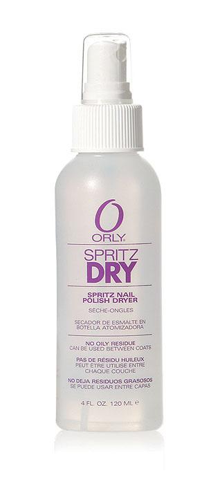 Orly Сушка-спрей Spritz Dry, 118 мл24350Жидкая сушка Orly Spritz Dry в аэрозоли быстро высушивает лак. Она проста и удобна в применении. Испаряясь с поверхности ногтевой пластины, сушка-спрей ускоряет процесс высушивания лака и облегчает процедуру нанесения нового слоя лака или рисунка. Способ применения : распылить средство на расстоянии 10-15 сантиметров от ногтей, покрытых лаком. Идеально подходит для послойного высушивания лака при выполнении дизайна. Допустимо использование с любым базовым и верхним покрытием Orly.