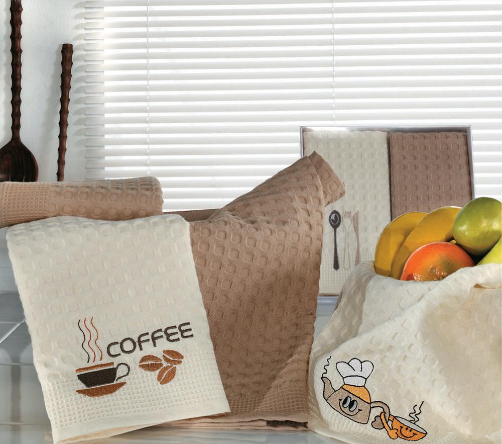 Набор вафельных салфеток Кулинария, цвет: кремовый, коричневый, 50 см х 70 см, 2 штКулинарияПотрясающе нарядные полотенца-салфетки Кулинария, упакованные в подарочную коробку, повязанную атласным бантом коричневого цвета - станут прекрасным подарком, надежным помощником на кухне, отличным украшением праздничного стола, скрасят повседневные будни. Необычная вафельная ткань-пике удивительной мягкости изготовлена из натурального хлопка благородных цветов: кремовый и легкий коричневый.