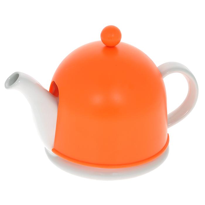 Чайник заварочный Mayer & Boch, с термоколпаком, цвет: белый, оранжевый, 500 мл21877Заварочный чайник Mayer & Boch, выполненный из керамики белого цвета, позволит вам заварить свежий, ароматный чай. Чайник оснащен сетчатым фильтром из нержавеющей стали. Он задерживает чаинки и предотвращает их попадание в чашку. Сверху на чайник одевается термоколпак из пластика с тканевой прослойкой. Он поможет дольше удерживать тепло, а значит, вода в чайнике дольше будет оставаться горячей и пригодной для заваривания чая. Заварочный чайник Mayer & Boch послужит хорошим подарком для друзей и близких. Диаметр основания чайника: 14 см. Высота чайника (без учета ручки и крышки): 9,5 см. Размер термоколпака: 14,5 см х 14,5 см х 13 см.