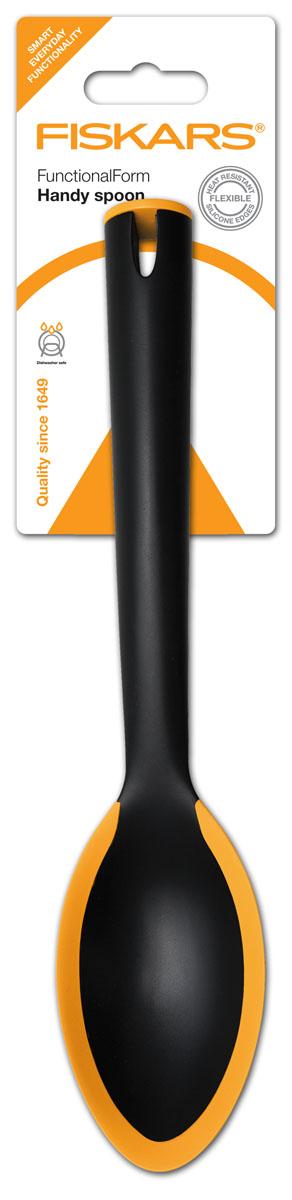 Ложка плоская большая Fiskars, 29 см858101, 1002982Ложка плоская большая Fiskars из специального укрепленного нейлона, края которой выполнены из жаропрочного силикона для комфортного использования. Характеристики: Материал: нейлон, силикон. Длина ложки: 29 см. Ширина ложки: 5,5 см. Размер упаковки: 36 см х 8 см х 3 см.