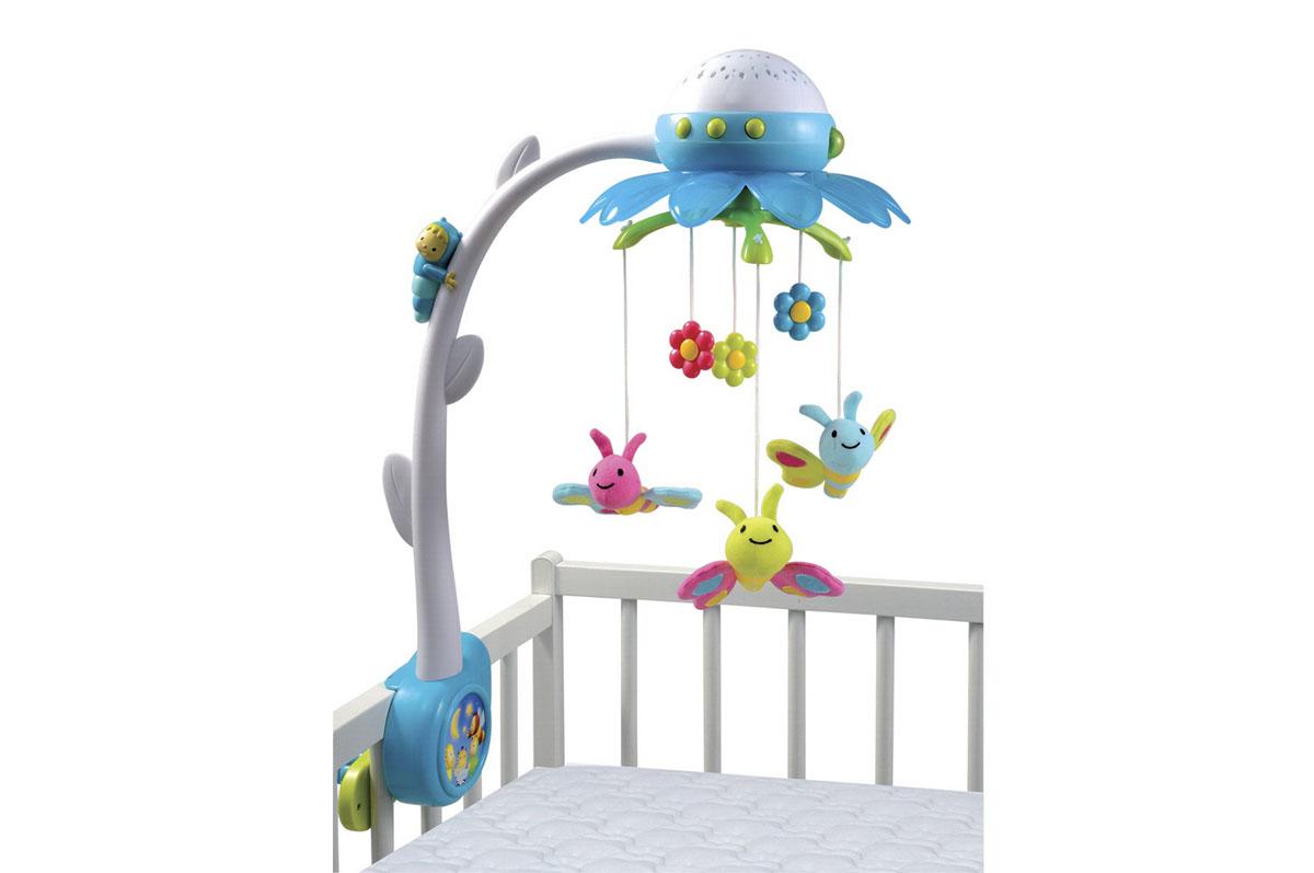 Smoby Музыкальный мобиль Цветок цвет голубой211374Музыкальный мобиль Smoby Цветок - оригинальная игрушка, создающая атмосферу уюта и спокойствия в детской комнате. Под приятные мелодии на мобиле медленно вращаются три бабочки, выполненные из текстильного материала разных фактур и три пластиковых цветка. К кронштейну в виде цветка крепится музыкальный блок с проектором, а к нему - игрушки Если ребенок не спит, он может наблюдать за разноцветными игрушками или за меняющей цвет проекцией цветов и бабочек на потолке. Устройство предусматривает различные режимы работы. Музыка может играть в течение десяти или сорока минут, движение игрушек включается вместе с музыкой, при желании его можно отключить, подсветка также включается вместе с музыкой и при необходимости отключается. Мобиль проигрывает четыре мелодии - 3 колыбельные и 1 звук природы. Пульт дистанционного управления позволит управлять мобилем на расстоянии, не беспокоя малыша. Сочетание музыки и движения поможет ребенку успокоиться, а также развить...