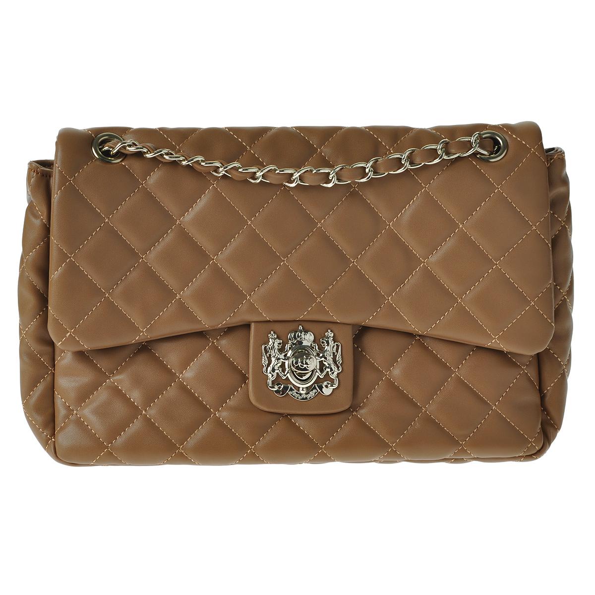 Сумка женская Fancy bag, цвет: светло-коричневый. 1016-061016-06 светл корСтильная сумка Fancy bag выполнена из экокожи светло-коричневого цвета и оформлена стеганой отстрочкой в виде ромбов и декоративным элементом на застежке. Сумка имеет одно отделение, закрывающееся клапаном на замок. Внутри - смежный карман на застежке-молнии, вшитый карман на застежке-молнии и два накладных кармана для мобильного телефона и прочих мелочей. Внутри - вшитый карман на застежке-молнии и накладной карман для мобильного телефона. Сумка оснащена двумя ручками в виде цепочки. В комплекте чехол для хранения. Этот стильный аксессуар станет великолепным дополнением вашего образа.
