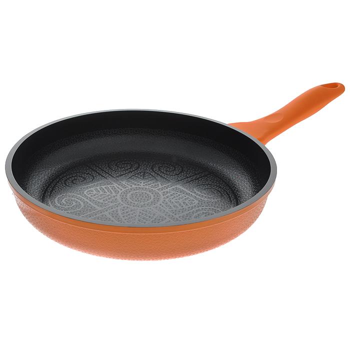Сковорода Mayer & Boch, с керамическим покрытием, цвет: оранжевый. Диаметр 24 см. 2073420734 оранжевыйСковорода Mayer & Boch изготовлена из алюминия с высококачественным антипригарным керамическим покрытием черного цвета. Керамика не содержит вредных примесей ПФОК, поэтому является экологически чистой, безопасной для здоровья. Кроме того, с таким покрытием пища не пригорает и не прилипает к стенкам, поэтому можно готовить с минимальным добавлением масла и жиров. Рельефная поверхность легко чистится - ее можно мыть в воде руками или вытирать полотенцем. Внешнее жаростойкое покрытие - оранжевого цвета. Внутренняя и внешняя поверхность сковороды покрыта цветочным рельефом. Эргономичная ручка специального дизайна выполнена из силикона с эффектом Soft-Touch, удобна в эксплуатации. Сковорода подходит для использования на газовых, электрических, стеклокерамических, галогенных, индукционных плитах. Нельзя использовать в духовом шкафу и СВЧ-печи. Можно мыть в посудомоечной машине.