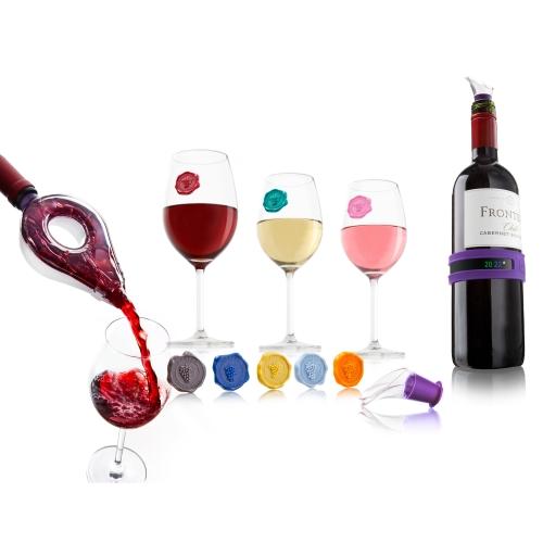 Подарочный набор VacuVin WineTasting GiftSet, 12 предметов3889560Подарочный набор VacuVin WineTasting GiftSet включает в себя 2 каплеуловителя, браслет, аэратор, 8 маркеров. Каплеуловители изготовлены из высокопрочного прозрачного пластика. С помощью них вы сможете легко разлить вино по бокалам, оставив вашу скатерть чистой. Каплеуловители прекрасно подходят для большинства винных бутылок. Резиновый браслет-термометр, одетый на бутылку, покажет точную температуру вашего вина и готово ли оно к подаче. На оборотной стороне браслета указана информация об оптимальных температурах подачи для разных вин. Аэратор для вина, выполненный из высококачественного пластика, откроет вам новые грани вина. Его конструкция замедляет стекание вина в бокал, позволяя вину интенсивно насыщаться кислородом, и тем самым обогащает его вкус. Съемная крышка устройства прозрачная - вы сможете наблюдать процесс розлива вина и, заметив осадок в вине, прервать розлив до того, как осадок попадет в бокал. Резиновые маркеры для бокалов в виде винных печатей...