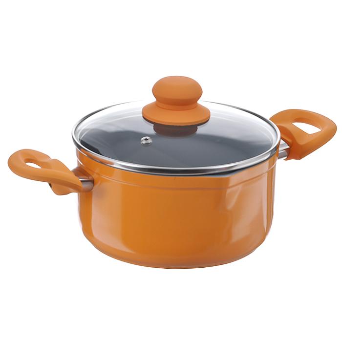 Кастрюля Mayer & Boch с крышкой, с керамическим покрытием, цвет: оранжевый, 2,1 л22469Кастрюля Mayer & Boch изготовлена из высококачественного алюминиевого сплава с двухслойным керамическим покрытием серого цвета. Керамика не содержит вредных примесей ПФОК, поэтому является экологически чистой, безопасной для здоровья. Кроме того, с таким покрытием пища не пригорает и не прилипает к стенкам, поэтому можно готовить с минимальным добавлением масла и жиров. Гладкая поверхность легко чистится - ее можно мыть в воде руками или вытирать полотенцем. Кастрюля эффективно сохраняет тепло и быстро разогревает продукты. Энергосберегающая технология позволяет готовить быстрее, с меньшими затратами энергии. Кастрюля оснащена бакелитовыми ручками с эффектом Soft-Touch, что делает процесс эксплуатации более удобным и комфортным. Крышка из термостойкого стекла снабжена металлическим ободом, удобной бакелитовой ручкой и отверстием для выпуска пара. Такая крышка позволит следить за процессом приготовления пищи без потери тепла. Она плотно прилегает к...