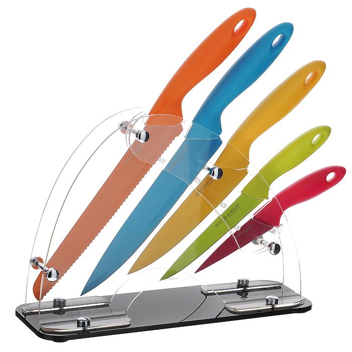 Набор ножей Mayer & Boch, цвет: мульти, 6 предметов. 2013520135Набор ножей Mayer & Boch состоит из пяти разноцветных ножей и подставки. Лезвия ножей выполнены из высококачественной нержавеющей стали с гладкой, легко очищаемой поверхностью. Ножи прекрасно подходят для ежедневной резки фруктов, овощей и мяса. Рукоятки ножей, выполненные из бакелита, обеспечивают комфортный и легко контролируемый захват. В комплекте - подставка из прозрачного акрила. На дне имеются резиновые ножки для предотвращения скольжения по столу. Этот набор включает все необходимое для каждодневного приготовления пищи. Стильный яркий дизайн украсит интерьер вашей кухни.