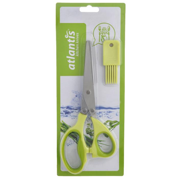 Ножницы кухонные Atlantis, для шинковки зелени, цвет: салатовый18LF-1005-GКухонные ножницы Atlantis с изготовлены из высококачественной стали с ручной заточкой и предназначены для шинковки зелени. Оснащены 5 лезвиями из стали высокого качества и имеют удобные нескользящие ручки с силиконовыми вставками. Эти ножницы также подходят, чтобы нарезать салат, ветчину, грибы, и т.д. В комплект входит специальная силиконовая кисточка для чистки.