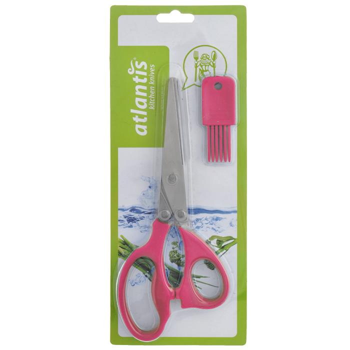 Ножницы кухонные Atlantis, для шинковки зелени, цвет: красный18LF-1005-RКухонные ножницы Atlantis с изготовлены из высококачественной стали с ручной заточкой и предназначены для шинковки зелени. Оснащены 5 лезвиями из стали высокого качества и имеют удобные нескользящие ручки с силиконовыми вставками. Эти ножницы также подходят, чтобы нарезать салат, ветчину, грибы, и т.д. В комплект входит специальная силиконовая кисточка для чистки. Характеристики: Материал: сталь, пластик, силикон. Цвет: красный. Длина ножниц: 21 см. Размер кисточки: 2,5 см х 1 см х 7 см. Размер упаковки: 29 см х 12 см х 2 см. Артикул: 18LF-1005-R.