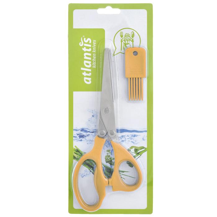 Ножницы кухонные Atlantis, для шинковки зелени, цвет: оранжевый18LF-1005-OКухонные ножницы Atlantis с изготовлены из высококачественной стали с ручной заточкой и предназначены для шинковки зелени. Оснащены 5 лезвиями из стали высокого качества и имеют удобные нескользящие ручки с силиконовыми вставками. Эти ножницы также подходят, чтобы нарезать салат, ветчину, грибы, и т.д. В комплект входит специальная силиконовая кисточка для чистки.
