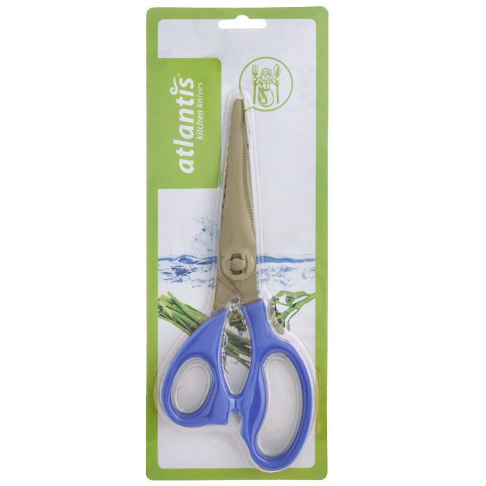 Ножницы кухонные Atlantis, разборные, цвет: синий18LF-1002-BКухонные ножницы Atlantis изготовлены из высококачественной стали с ручной заточкой. Ручки ножниц выполнены из пластика синего цвета. Кухонные ножницы предназначены для резки мяса и чистки рыбы. Имеется овальная полость между ручками, которая используется для колки орехов. Характеристики: Материал: сталь, пластик. Цвет: синий. Длина ножниц: 21,5 см. Размер упаковки: 28,5 см х 11,5 см х 2 см. Артикул: 18LF-1002-B.