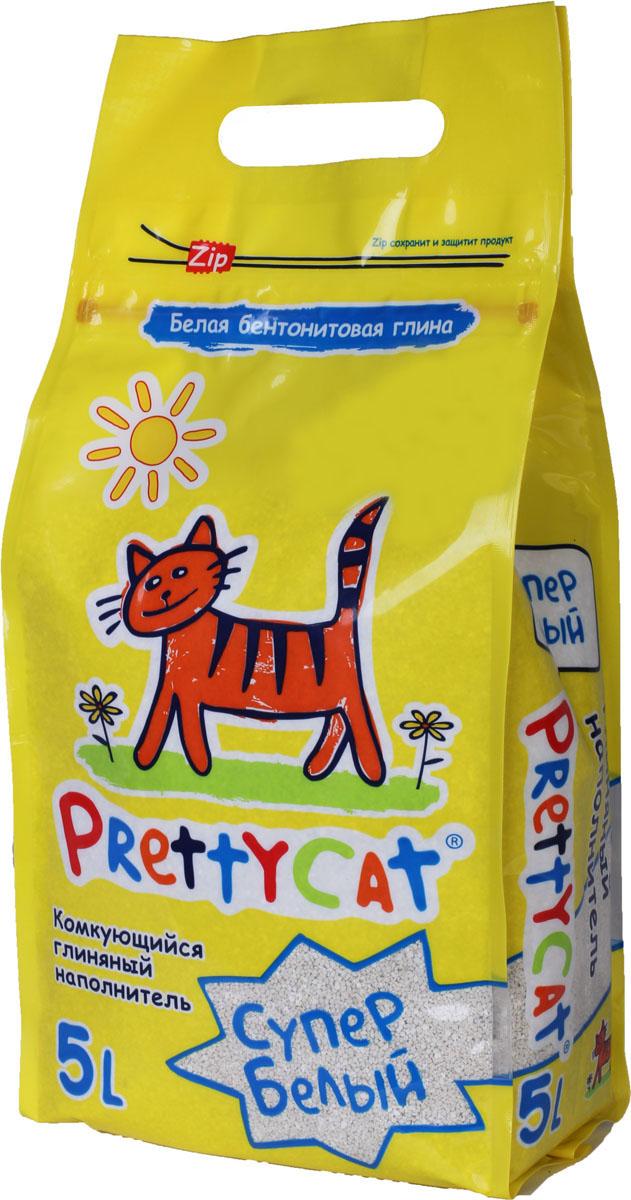 """Наполнитель для кошачьих туалетов PrettyCat """"Супер белый"""", комкующийся, 5 л. 620024"""