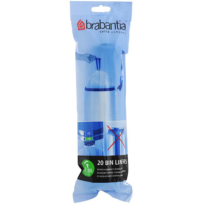 Пакеты для мусора Brabantia, 23-30 л, 20 шт246265Одноразовые пакеты Brabantia, выполненные из пластика, предназначены для мусорного бака. Предотвращают загрязнение бака, удобны в использовании. Затяжная лента позволяет быстро и легко сменить пакет для мусора: просто потяните за ленту, она аккуратно запечатает горловину мешка и превратится в крепкие ручки. Пакеты имеют универсальный размер и подходят для баков различных объемов (от 23 л до 30 л).