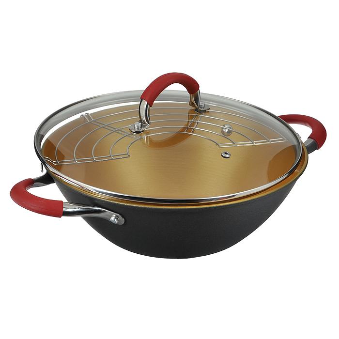 Казан чугунный Mayer & Boch с крышкой, с решеткой-барбекю, цвет: черный, золотистый, 3,2 л21401Казан Mayer & Boch, изготовленный из чугуна, идеально подходит для приготовления вкусных тушеных блюд. Он имеет внешнее черное и внутреннее золотистое керамическое покрытие. Чугун является традиционным высокопрочным, экологически чистым материалом. Причем, чем дольше и чаще вы пользуетесь этой посудой, тем лучше становятся ее свойства. Высокая теплоемкость чугуна позволяет ему сильно нагреваться и медленно остывать, а это в свою очередь обеспечивает равномерное приготовление пищи. Чугун не вступает в какие-либо химические реакции с пищей в процессе приготовления и хранения, а плотное покрытие - безупречное препятствие для бактерий и запахов. Пища, приготовленная в чугунной посуде, благодаря экологической чистоте материала не может нанести вред здоровью человека. Казан оснащен двумя удобными ручками из нержавеющей стали с ненагревающимися силиконовыми вставками. Крышка изготовлена из жаропрочного стекла и оснащена отверстием для выпуска пара и металлическим ободом. Такая...