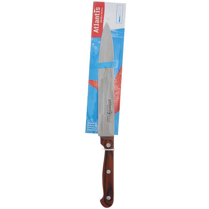 Нож Atlantis Classic, для нарезки, длина лезвия 19 см24413-SKНож Atlantis Classic изготовлен из высококачественной стали ручной заточки. Благодаря узкому острому лезвию с особой формой режущей кромки, такой нож прекрасно подойдет для нарезки фруктов, овощей и мяса. Рукоятка, выполненная из пластика с оформлением под дерево, удобно лежит в руке, не скользит и делает резку удобной и безопасной. Практичный и функциональный нож Atlantis Classic займет достойное место среди аксессуаров на вашей кухне.