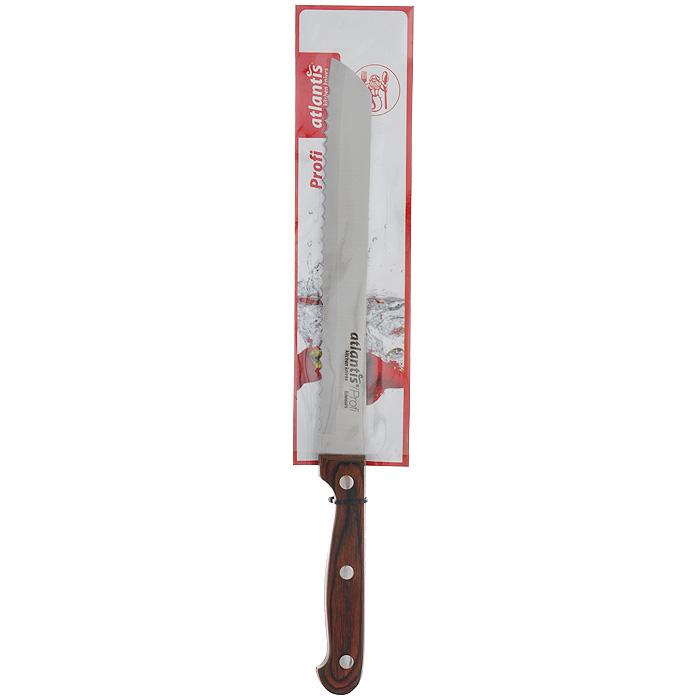 Нож Atlantis Profi, для хлеба, длина лезвия 20 см24403-SKНож для хлеба Atlantis Profi изготовлен из высококачественной стали специальной заточки. Благодаря острому лезвию с особой формой режущей кромки, такой нож прекрасно подойдет для нарезки хлеба. Рукоятка, выполненная из пластика с оформлением под дерево, удобно лежит в руке, не скользит и делает резку удобной и безопасной. Практичный и функциональный нож Atlantis Profi займет достойное место среди аксессуаров на вашей кухне.