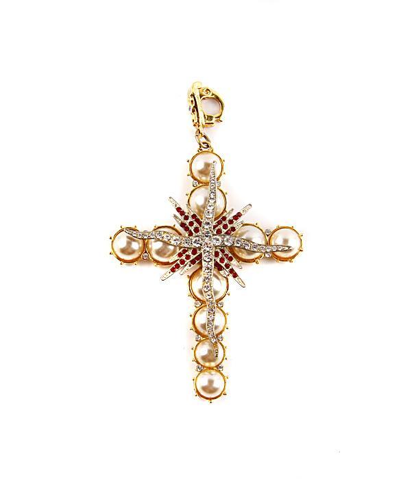 "Подвеска-брелок ""Крест"". Металл, австрийские кристаллы, имитация жемчуга. Berebi, США, конец XX века"