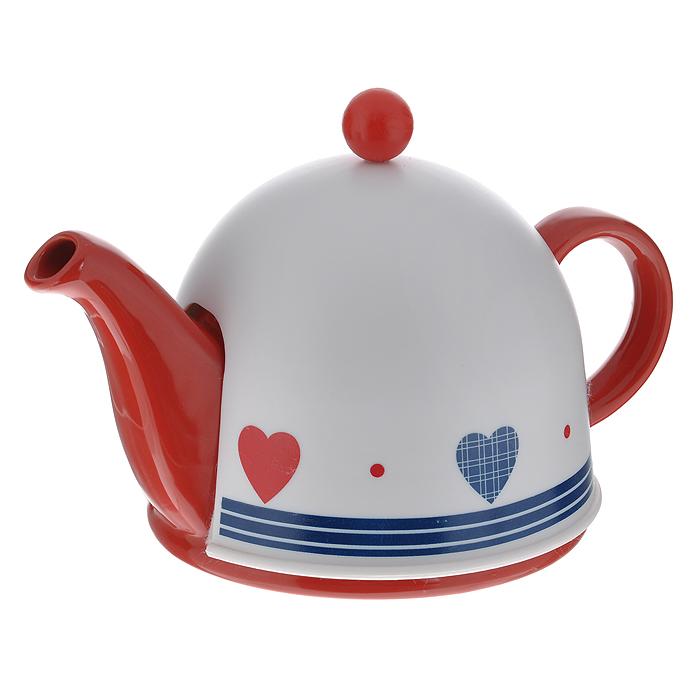 Чайник заварочный Mayer & Boch, с термоколпаком, цвет: красный, белый, 500 мл. 2187621876Заварочный чайник Mayer & Boch, выполненный из керамики красного цвета, позволит вам заварить свежий, ароматный чай. Чайник оснащен сетчатым фильтром из нержавеющей стали. Он задерживает чаинки и предотвращает их попадание в чашку. Сверху на чайник одевается термоколпак из пластика с тканевой прослойкой. Он поможет дольше удерживать тепло, а значит, вода в чайнике дольше будет оставаться горячей и пригодной для заваривания чая. Заварочный чайник Mayer & Boch послужит хорошим подарком для друзей и близких. Диаметр основания чайника: 14 см. Высота чайника (без учета ручки и крышки): 9,5 см. Размер термоколпака: 14,5 см х 14,5 см х 13 см.