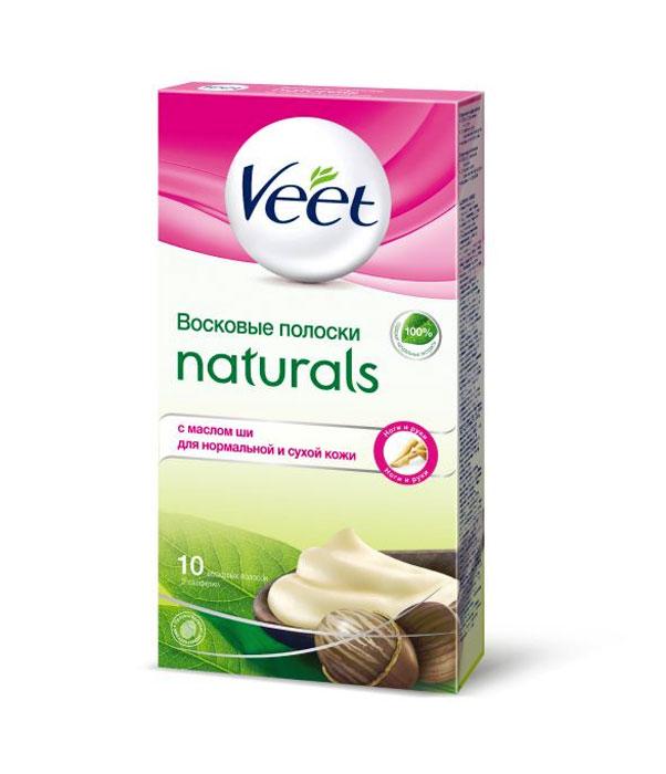 Veet Восковые полоски Naturals, с маслом ши, для нормальной и сухой кожи, 10 шт, 2 салфетки