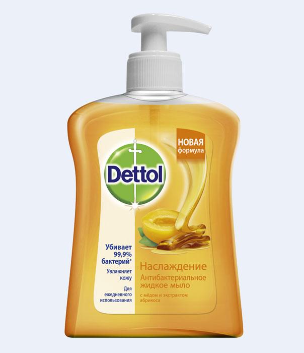 Жидкое мыло Dettol Наслаждение, с медом и экстрактом абрикоса, 250 мл7728Антибактериальное жидкое мыло Dettol Наслаждение с медом и экстрактом абрикоса убивает 99,9% бактерий, в том числе кишечную палочку и золотистый стафилококк. Мыло надежно защищает от инфекций, при этом не сушит кожу рук, благодаря увлажняющим компонентам. Подходит для ежедневного использования. Характеристики: Объем: 250 мл. Производитель: Франция. Артикул: 7728. Товар сертифицирован.